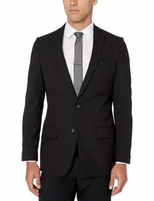 Louis Raphael Men's Slim Fit 2 Button Side Vent 4Way Stretch Sharkskin Suit Coat