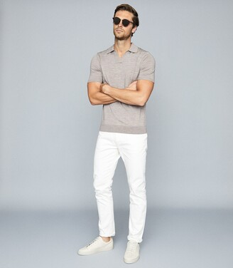 Reiss Duchie - Merino Wool Open Collar Polo Shirt in Taupe