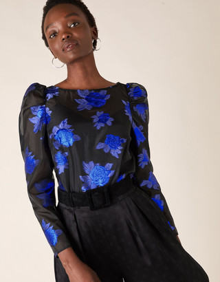 Under Armour Ophelia Floral Organza Blouse Blue