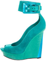 Brian Atwood Suede Peep-Toe Wedges