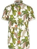 River Island MensGreen cactus flower print short sleeve shirt