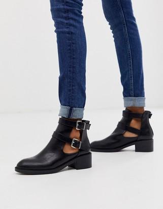 Glamorous black cut out biker boots