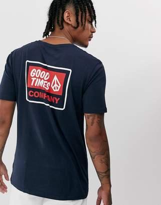 Volcom good times back print t-shirt-Navy