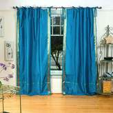 Indian Selections Lined-Turquoise Tie Top Sheer Sari Curtain / Drape - 43W x 108L - Piece