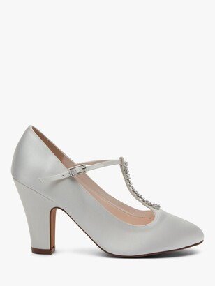Rainbow Club Frankie T-Bar Block Heel Court Shoes, Ivory