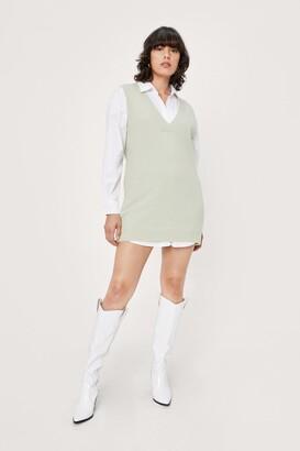 Nasty Gal Womens V Back Soon Knitted Mini Dress - Sage