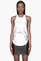 Wayne White and blue silk Mow Diving Tank top