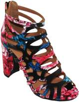Bella Marie Bellamarie Women's Shirley-30F Floral Caged Cutout Ankle-High Round Block Heel Sandals