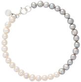 Claudia Bradby Freshwater Pearl Ombre Single Strand Bracelet, Silver/White