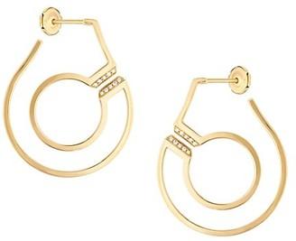 Dinh Van Menottes 18K Yellow Gold & Diamond Hoop Earrings
