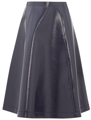 Sara Lanzi Coated Wool-blend A-line Skirt - Navy