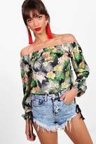 boohoo Olivia Tropical Print Bardot Top multi