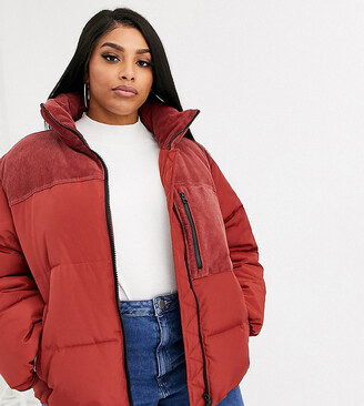 ASOS DESIGN Curve padded jacket with cord patching in red