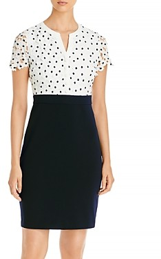 Karl Lagerfeld Paris Eyelet Bodice Sheath Dress