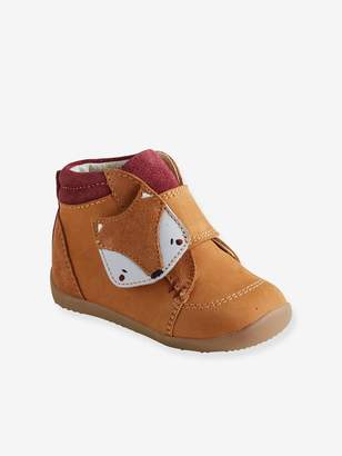 Vertbaudet Leather Pram Shoes with touch-fastening Tab, for Baby Boys, Designed for First Steps
