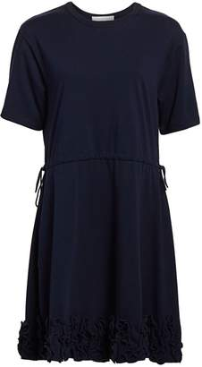See by Chloe Short-Sleeve Ruffle Drawstring A-Line T-Shirt Dress