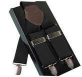 Acme Men's Leather Clip-on Suspenders 3 Clips Elastic Y-Shape Adjustable Braces