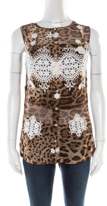 Dolce & Gabbana Leopard Printed Silk Contrast Lace Insert Sleeveless Top M