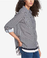 Tommy Hilfiger Contrast-Hem Tunic Shirt, Created for Macy's