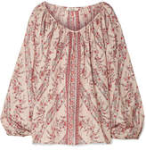 Mes Demoiselles Borat Printed Washed-silk Blouse - Antique rose