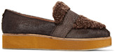 Australia Luxe Collective Bombay snake-effect shearling-trimmed calf-hair moccasins