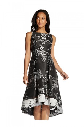 Adrianna Papell Floral Jacquard Cocktail Dress In Black/Silver