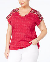 Style&Co. Style & Co Plus Size Cotton Embroidered Top, Created for Macy's