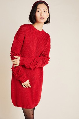 4SI3NNA the Label Pommed Hearts Sweater Mini Dress By in Red Size L