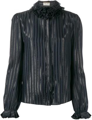 Saint Laurent Ruffle-Collar Striped Shirt