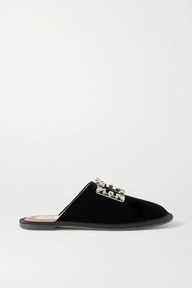 Roger Vivier Hotel Vivier Crystal-embellished Velvet Slippers - Black