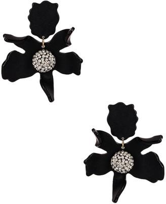 Lele Sadoughi Crystal Lily Earrings in Jet   FWRD