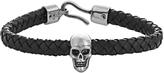 Alexander McQueen Woven-leather and skull bracelet
