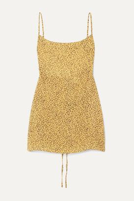 Anémone The Km Leopard-print Cupro Mini Dress - Yellow