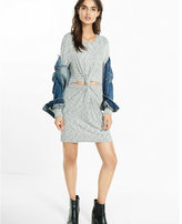 Express marled knot front crew neck dress