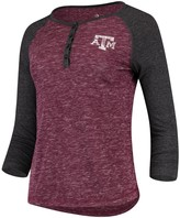 Colosseum Women's Heathered Maroon Texas A&M Aggies Slopsestyle Three-Quarter Sleeve Henley T-Shirt