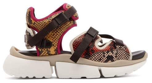 Chloé Sonnie Python Effect Leather Trainer Sandals - Womens - Yellow Multi