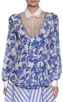 Francesco Scognamiglio Floral-Print Blouse with Lace Inset, White/Blue