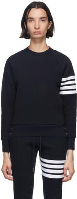 Thom Browne Navy Waffle 4-Bar Classic Sweatshirt