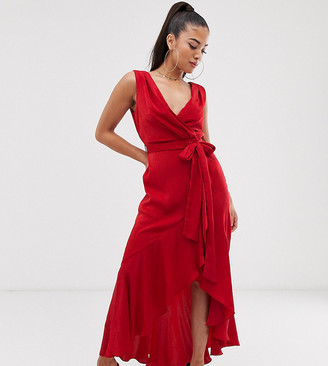 Flounce London Petite satin wrap front midaxi dress in tomato red