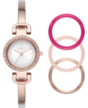 DKNY Women's CityLink Rose Gold-Tone Stainless Steel Bangle Bracelet Watch 26mm Gift Set