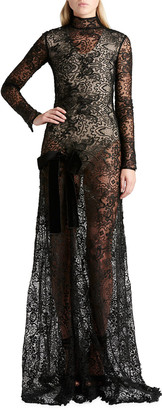Tom Ford Long-Sleeve Lace Gown
