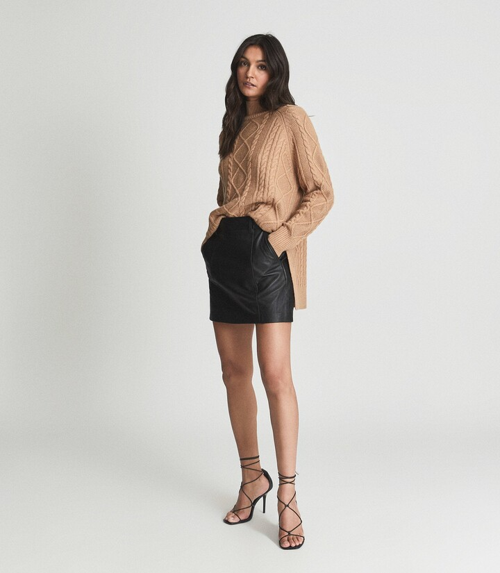 Thumbnail for your product : Reiss Eliza - Leather Mini Skirt in Black