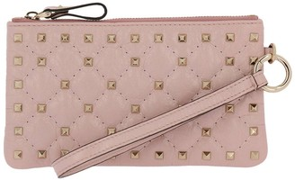 Valentino Rockstud Spike Mini Clutch Bag In Quilted Nappa Leather With Metal Studs