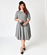 The Pretty Dress Company Plus Size Black & White Prince of Wales Hepburn Swing Dress