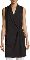 Neiman Marcus Long Belted Tunic Vest, Black