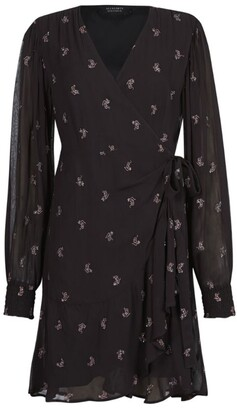 AllSaints Fina Snake Wrap Dress