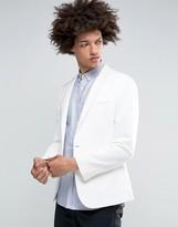 Asos Super Skinny Jersey Blazer in White