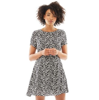 Jack Wills Womens Merriden Printed Fit And Flare Dress Black