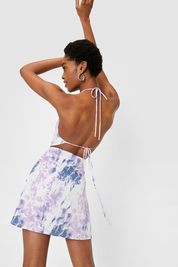 Thumbnail for your product : Nasty Gal Womens High Waisted Tie Dye Print Mini Skirt - White - 12