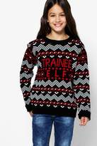 boohoo Girls Trainee Elf Christmas Jumper